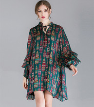 Chic womens Bohemian dress 2019 spring elegant ruffles chiffon fashion plus size G064
