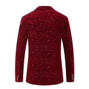 Image 2 - PYJTRL Men Autumn Winter Wine Red Burgundy Velvet Floral Pattern Suit Jacket Slim Fit Blazer Designs Stage Costumes For Singers