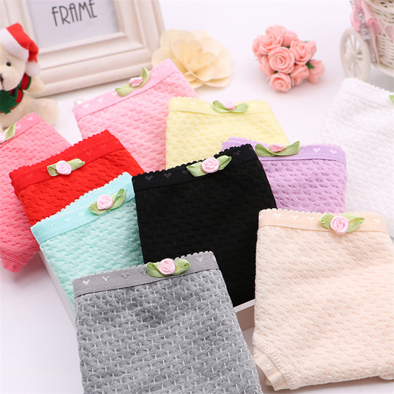 3Pcs/Lot Candy Color Kid Girls Panties Cotton Hollow Cotton Women's Panties 12-18 Years Old