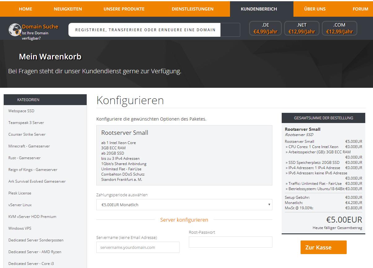 羊毛党之家 没有用过-DeinServerHost:€5/月/3GB内存/20GB SSD空间/不限流量/1Gbps/DDOS/KVM/德国