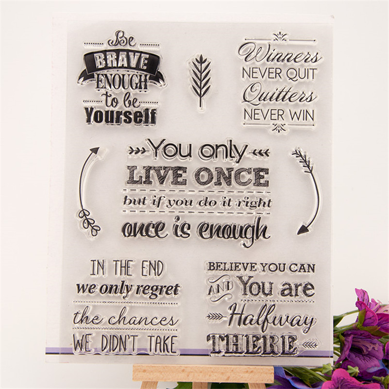 letter DesignBelieve yourself Transparent Stamp DIY Scrapbooking for wedding gift christmas gift for paper card CC-063
