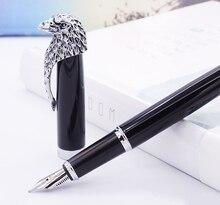 Fuliwen ינשוף שחור עט נובע בינוני ציפורן עם דיו מילוי ממיר, אצילי נשר ראש קליפ מתנה עט