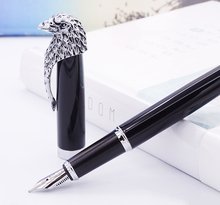 Stylo plume Fuliwen chouette noir plume moyenne avec convertisseur de recharges dencre, stylo cadeau Clip tête daigle Noble