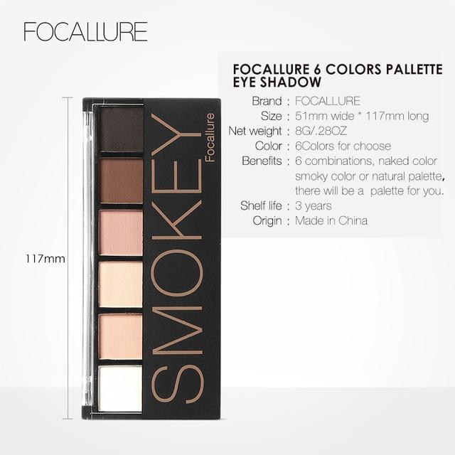 FOCALLURE 6 colors Smokey Matte Eyeshadow Palette Long lasting with Makeup Eye Shadow Brush 5