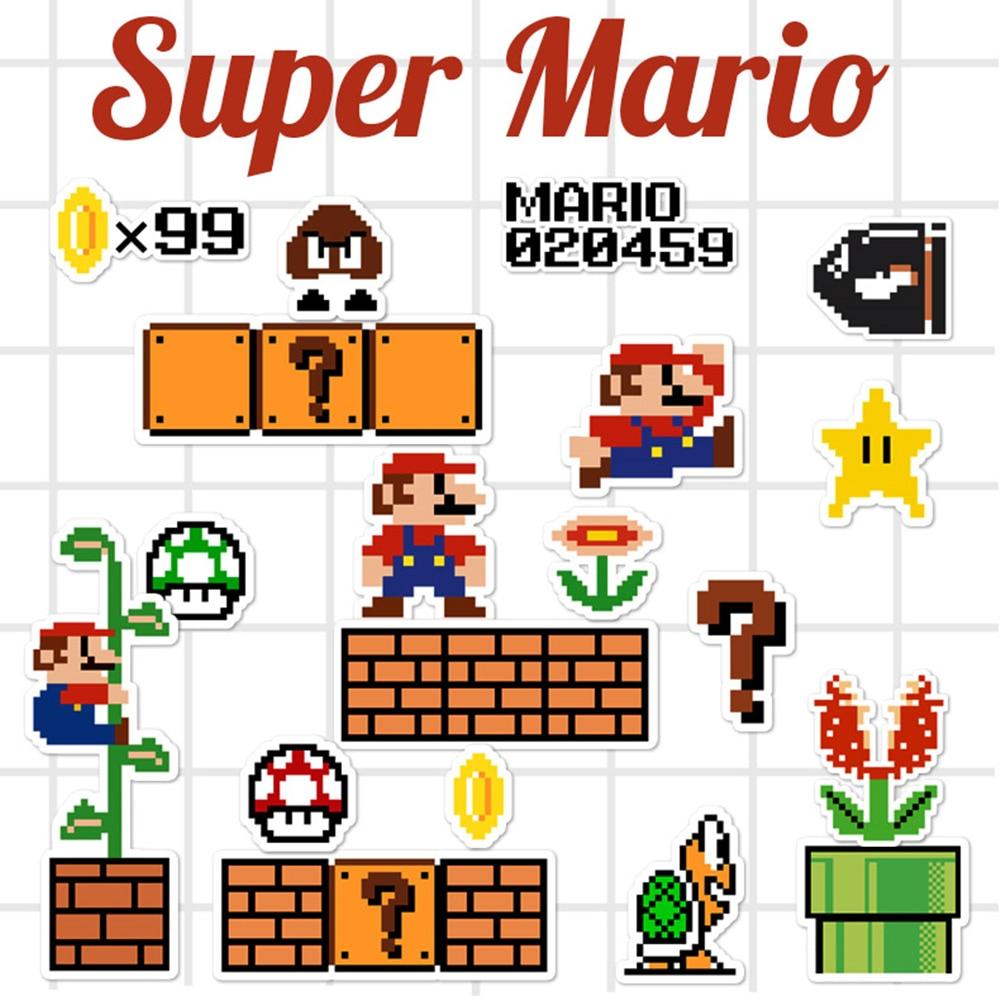 547 8 De Réduction23 Pcslot Dessin Animé Super Mario Pixel Style Autocollant Pour Voiture Ordinateur Portable Bagages Skateboard Sac à Dos Tables