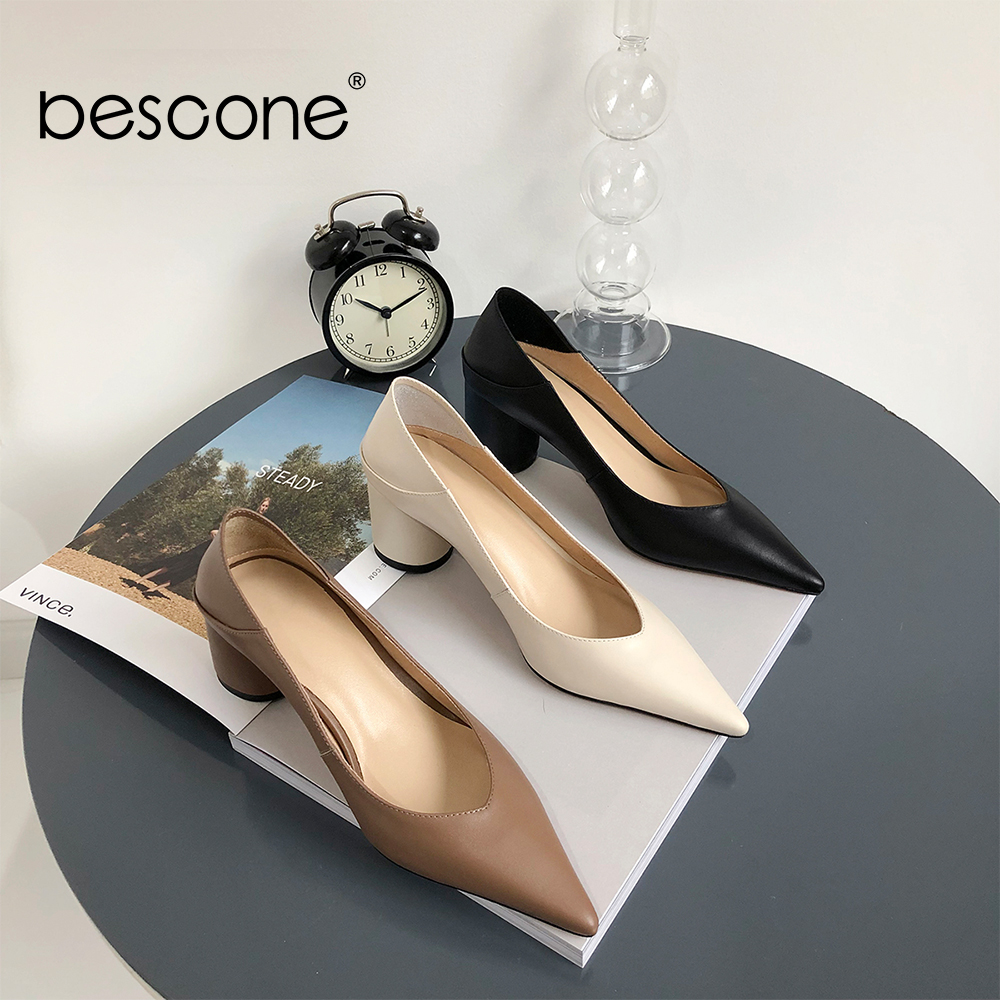 BESCONE Spring New Dress Women Pumps Quality Cow Leather Sexy Pointed Toe 6cm High Heel Ladies