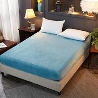 Quality Velvet Warm Flannel Winter Thicker Fitted sheet twin full queen size bed sheet Mattress Cover bedding bedsheet sabanas