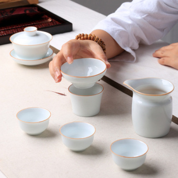 Chinese Kung Fu  Teapot Gaiwan Tea Set Household Sweet White Porcelain Simple Small Fresh Kung Fu Cover Bowl Small Teacup