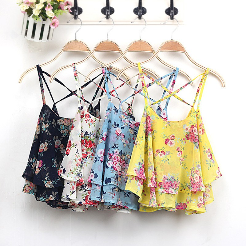 Summer Crop Top Women Tanks Clothing Spaghetti Strap Floral Print Shirt Vest Sexy Tops