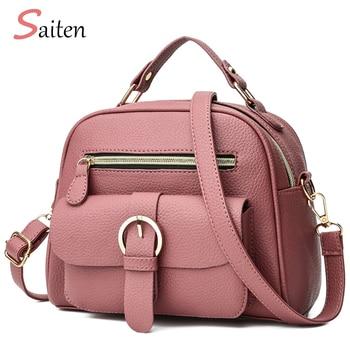 Nuevo 2019 de cuero de la Pu bolso mujer bolsos Litchi de las señoras de moda bolsos de hombro de alta calidad bolso de mano mujer rosa bolsa de mensajero