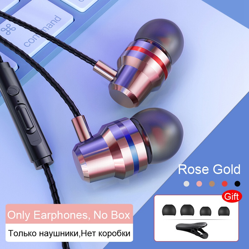 TOMKAS Wired Earbuds Headphones 3.5mm In Ear Earphone Earpiece With Mic Stereo Headset 5 Color For Samsung Xiaomi Phone Computer (5)