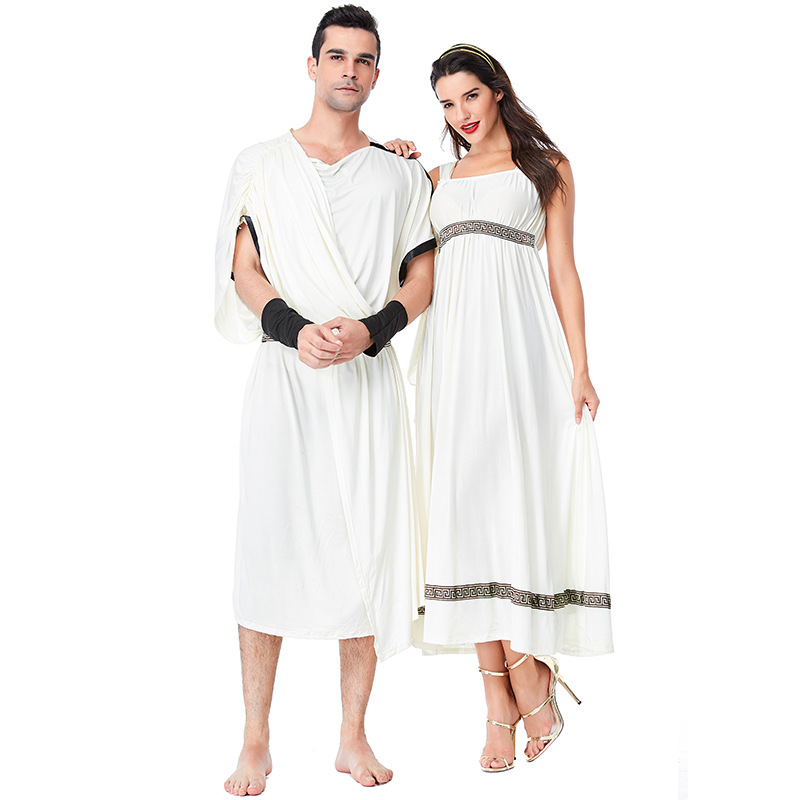 Roman Caesar Black Toga Fancy Dress Womens//Mans Roman Goddess Black Toga
