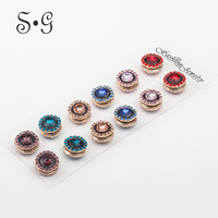 12pcs/dozen Setting Crystal Enhanced Version Vintage Round Muslim Brooch Women Magnetic Scarf Buckle Color Mix High Quality