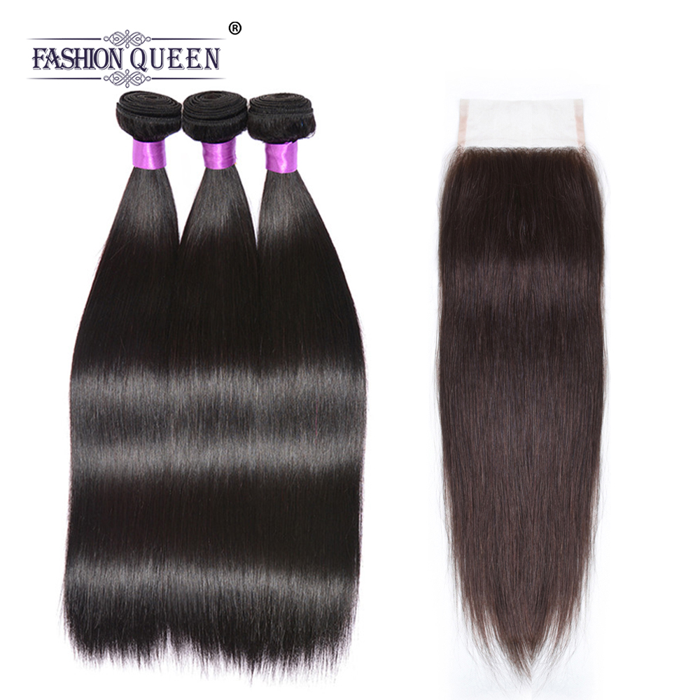 Brazilian Straight Human Hair Bundles With Closure Natural Color 3 Bundles Remy Hair 8-26 Inch Free Shipping