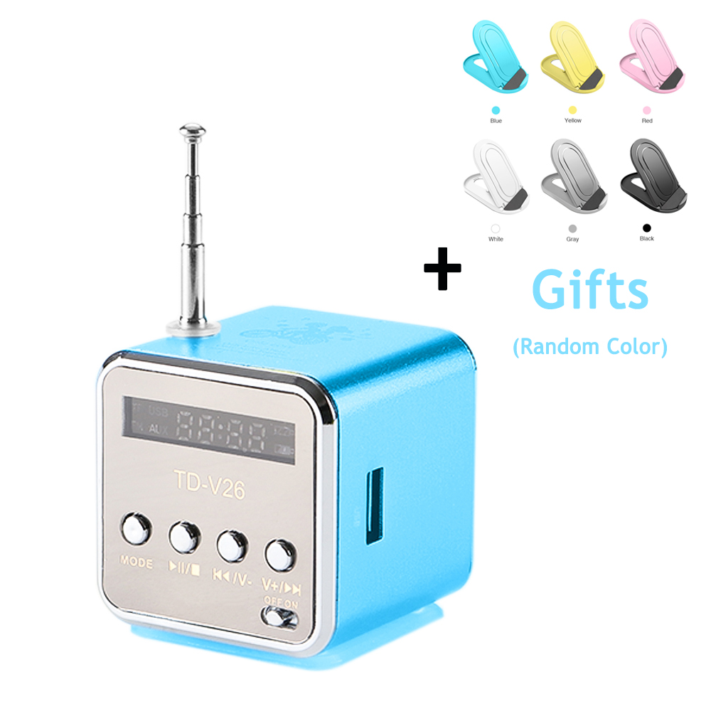TD-V26 Colorful Mini Speaker Stereo Bass Music Player Support USB SD TF Card Portable FM Radio With LED Phone Holder