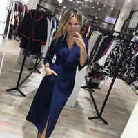New Fashion Sexy Deep V Neck Autumn Dress 2017 Women Vintage Ukraine Windbreaker Suit Style Dress
