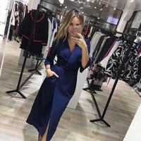 New Fashion Sexy Deep V Neck Autumn Dress 2017 Women Vintage Ukraine Windbreaker Suit Style Dress
