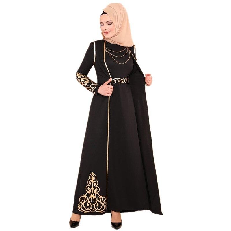 Elegant Muslimah Hot Stamping Abaya Turkish Singapore Full Length Two Pieces Jilbab Dubai Female Muslim Islamic Dress Wq1327