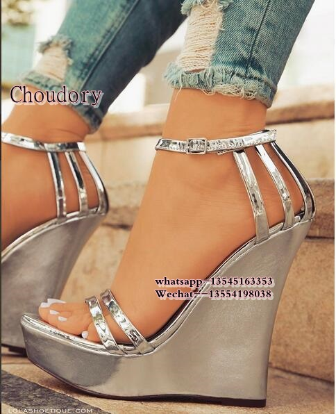 Sexy Open toe Gold silver Color Leather Wedges Gladiator Sandals Women High Heels Platform Sandals Summer Women's Shoes Woman gktinoo summer shoes woman genuine leather sandals open toe women shoes slip on wedges platform sandals women plus size 34 43