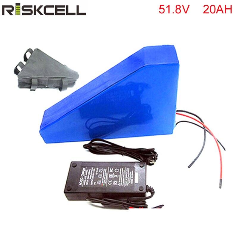 Triangle style 1500 w 51.8 v 20AH Vélo Électrique Batterie 51.8 v Au Lithium Batterie 52 v 20AH E-vélo batterie 30A BMS chargeur sac gratuit