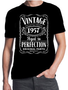 60th Birthday Vintage Aged To Perfection 1957 60 Years Old Gift Present T Shirt 3D Men Hot Cheap Short Sleeve Male T-Shirt(China)