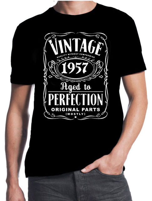 60th Birthday Vintage Aged To Perfection 1957 60 Years Old Gift Present T Shirt 3d Men