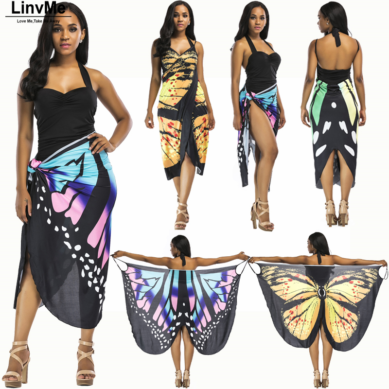 Linvme 2018 Women Butterfly Cover-ups Cape Sundress Overskirt Beachwear Cover Up Beach Robe Tunic Sarong Bathing Suit