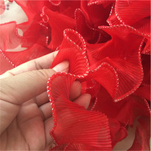 5 Yards Red Organza Lace Fabric Ruffled Trim Ribbons Pleated Handmade Garment Accessories 4.5cm Wide