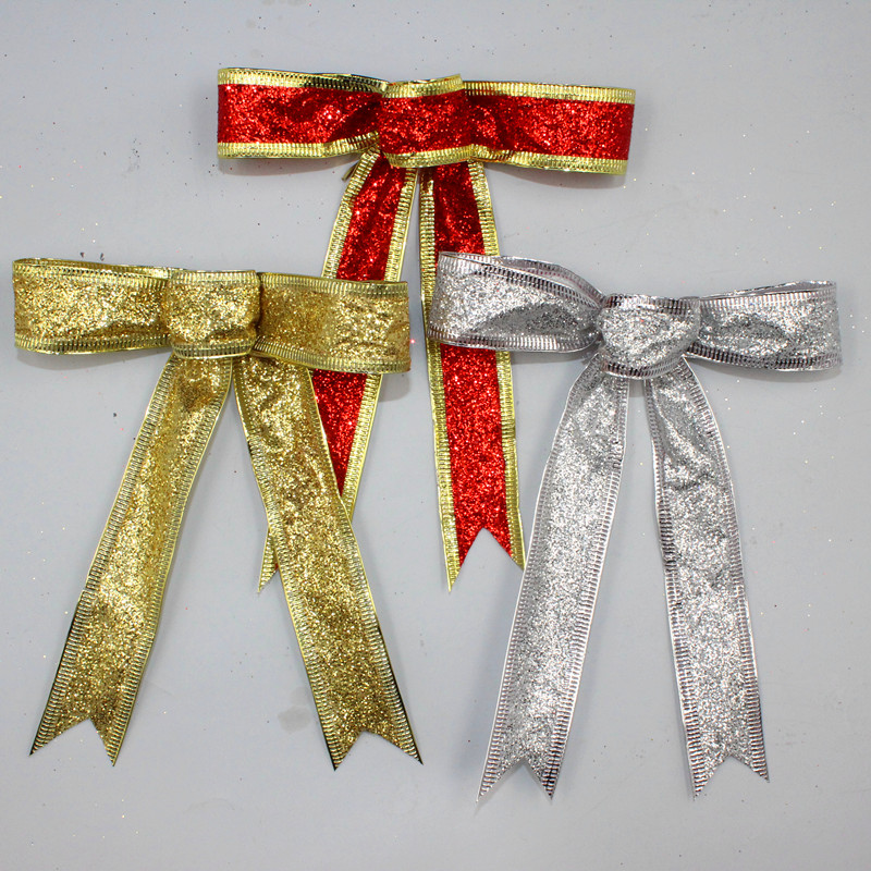 15CM Red Silver Gold Sparkling Glitter Christmas Bow Decoration Christmas  Tree Decoration Wired Ribbon Christmas Ornaments
