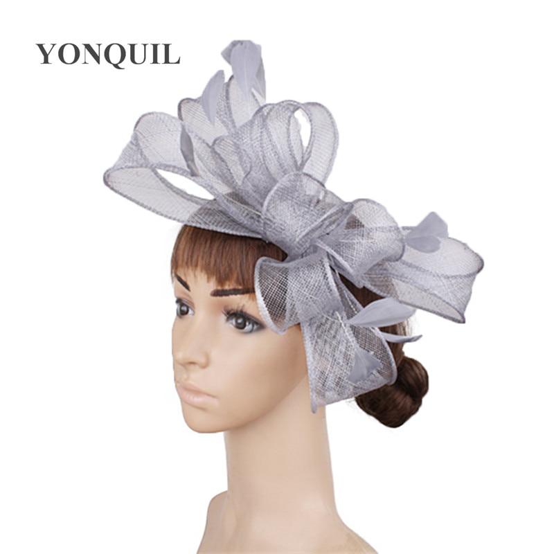 Винтажный белый головной убор Sinamay шляпа с причудливыми перьями Свадебные шапки Клубная кепка очень красивая 21 цвет можно выбрать SYF280 - Цвет: Серый