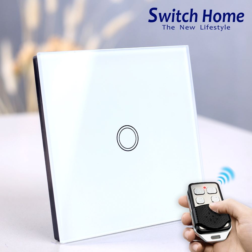 1 gang touch switch, Wireless Remote Control touch Switch, eu uk Glass panel touch Switch, 1 Way Smart Sensor Wall light switch vhome eu uk rf 433mhz wireless wall sticker panel touch remote control & 3 gang crystal glass wall lighting touch switch 220v 5a