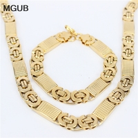 Two Tone Gold Plated Rope Chain Necklace Set Jewelry Wholesale 316L Stainless Steel Necklace Bracelet Men