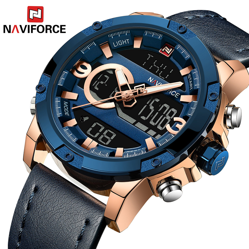 Naviforce 9097 Men Analog Digital Leather Sports Watches Men's Army Military Watch Clock Man Quartz relogios цена