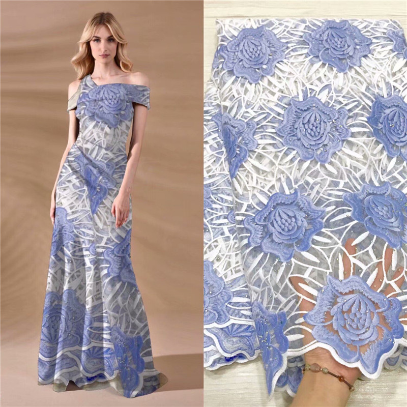 2019 African lace fabric embroidered flower net lace high quality Nigerian lace fabric with rhinestone for wedding dress in Fabric from Home Garden