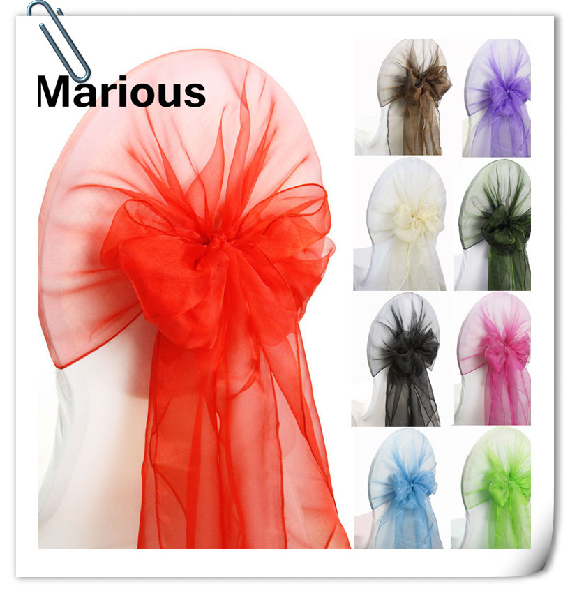 Free shipping Marious 100pcs organza chair hood / chair band for chair cover/chair band Many colors for wedding