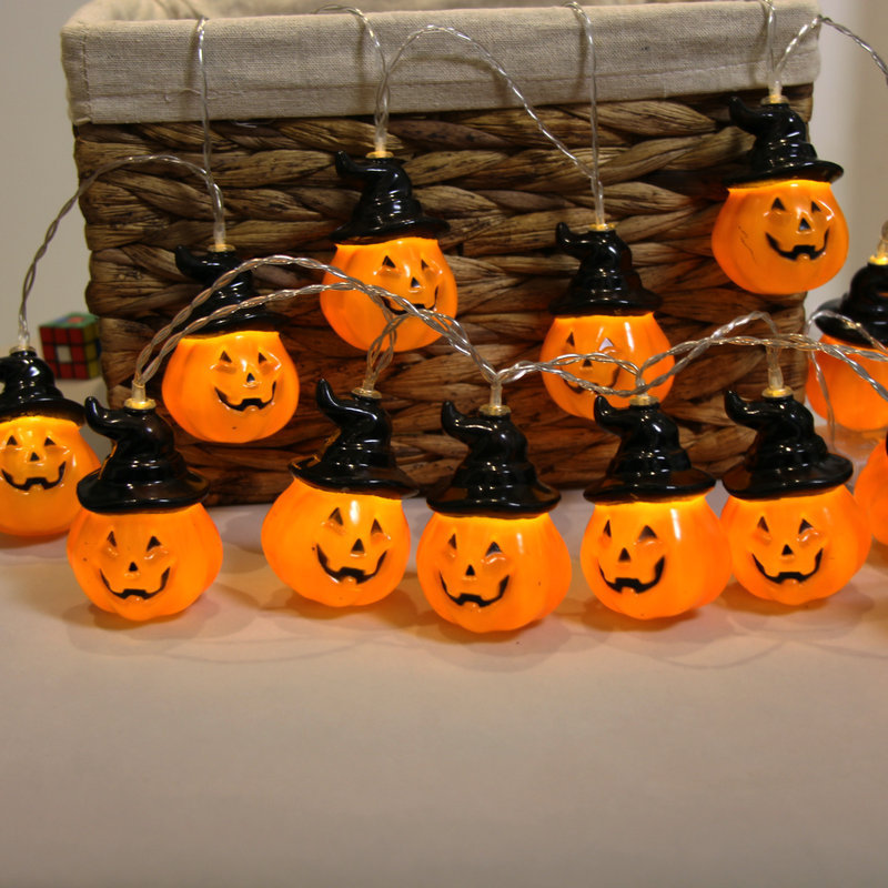 Halloween Party 1.5M 10 LED Pumpkin Ghost String Lights Decoration Lantern Props