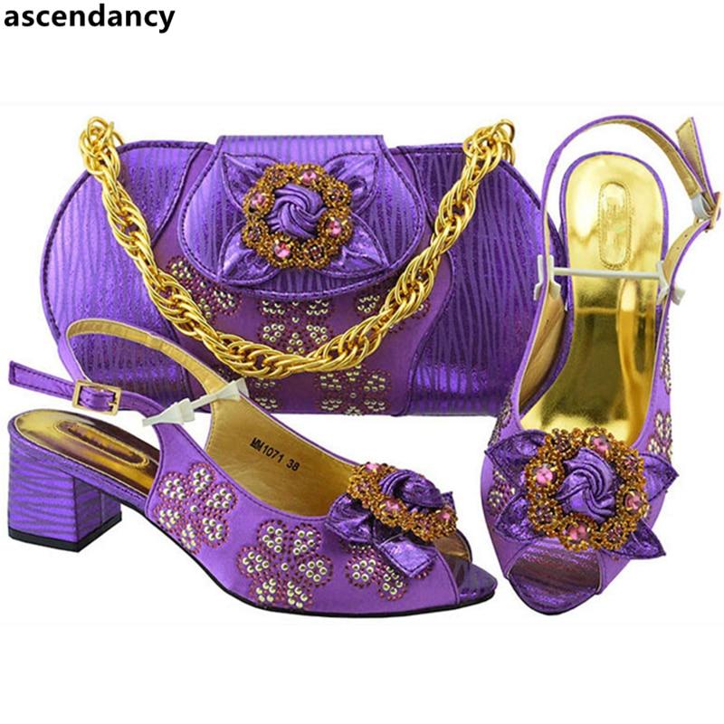 Femmes fuchsia Sacs Et Mariage bleu Italien Mis purple Conception Dans Dernière Royal Italie Marine rose Chaussures bleu De Sac En Sumemr Green Africaine water Assorties Pompes Nigérian Or IxXq18