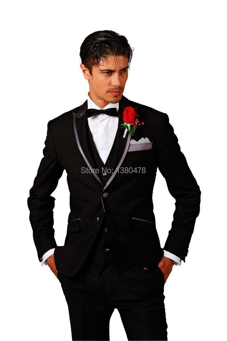 2016 Livraison gratuite! sur Mesure noir/gris Marié portent des Smokings/hommes costume/robe pour hommes de mariage hommes costumes (Veste + Pantalon + Gilet + Cravate)