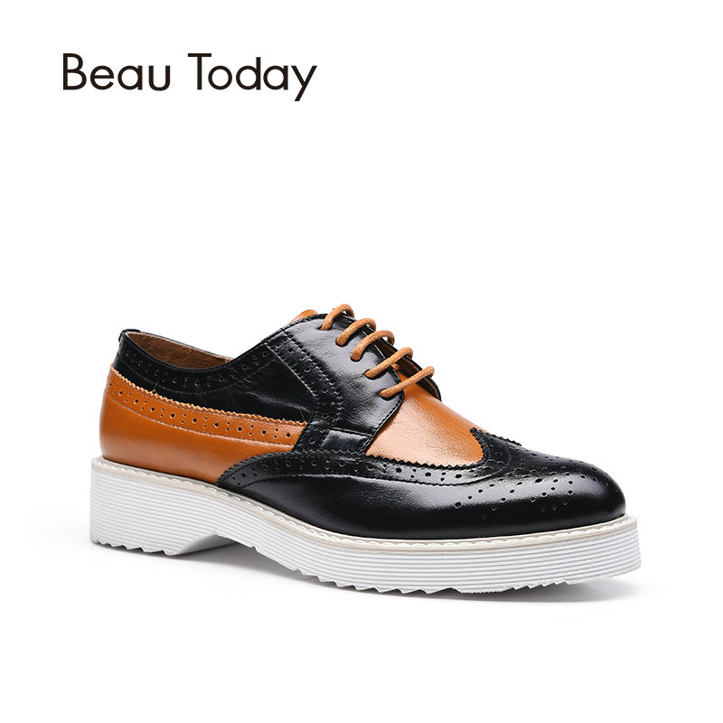 BeauToday Lace-Up Brogue Shoes Women Wingtip Round Toe Genuine Cow Leather Mixed Colors Casual Flats for Ladies 21021 qmn women distressed brushed cow suede brogue shoes women round toe lace up oxfords shoes woman genuine leather flats