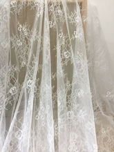 5 Yards Exquisite Alencon Lace Fabric in Warm White, Floral Emrboidery  for Wedding Gown, Caps, Bridal Veils