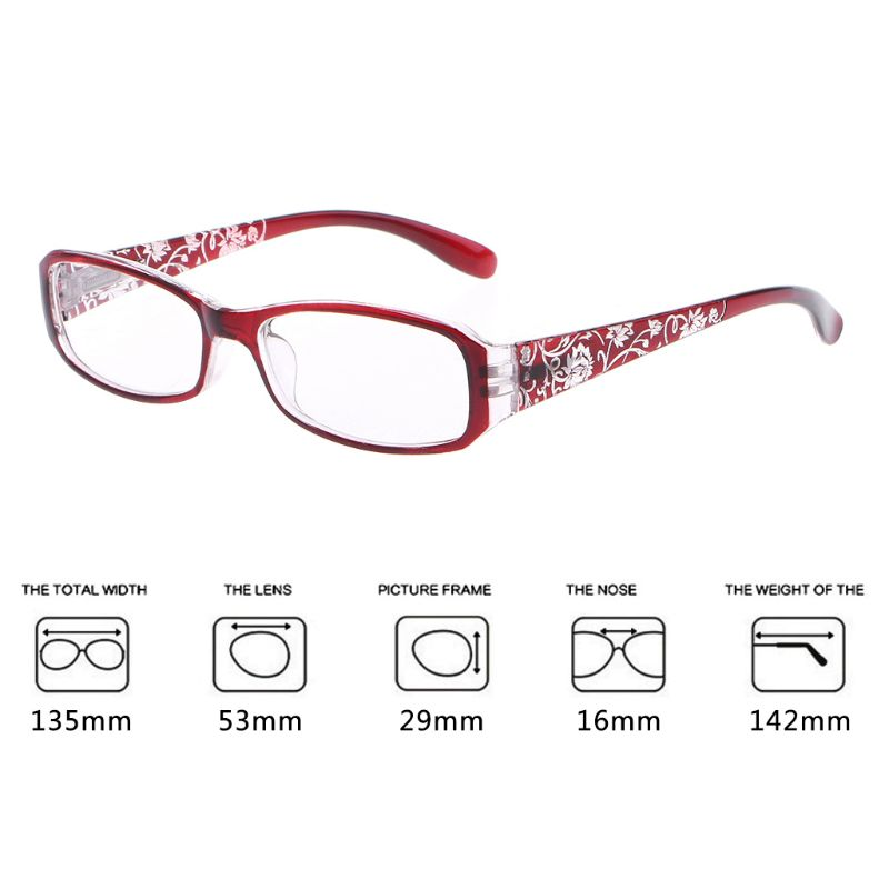 Women Lady Spring Hinge Flower Print Resin Reading Glasses Presbyopic +1.0~+4.0