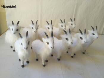 about 13x12cm artificial sheep,one lot/10pcs, plastic&furs white goats handicraft,home decoration gift a2434
