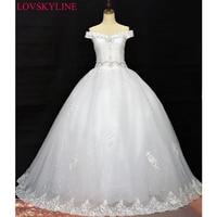 2017 Robe De Mariage Princess Bling Bling Luxury Crystals Ball Gown Wedding Dress Custom Made Vestido