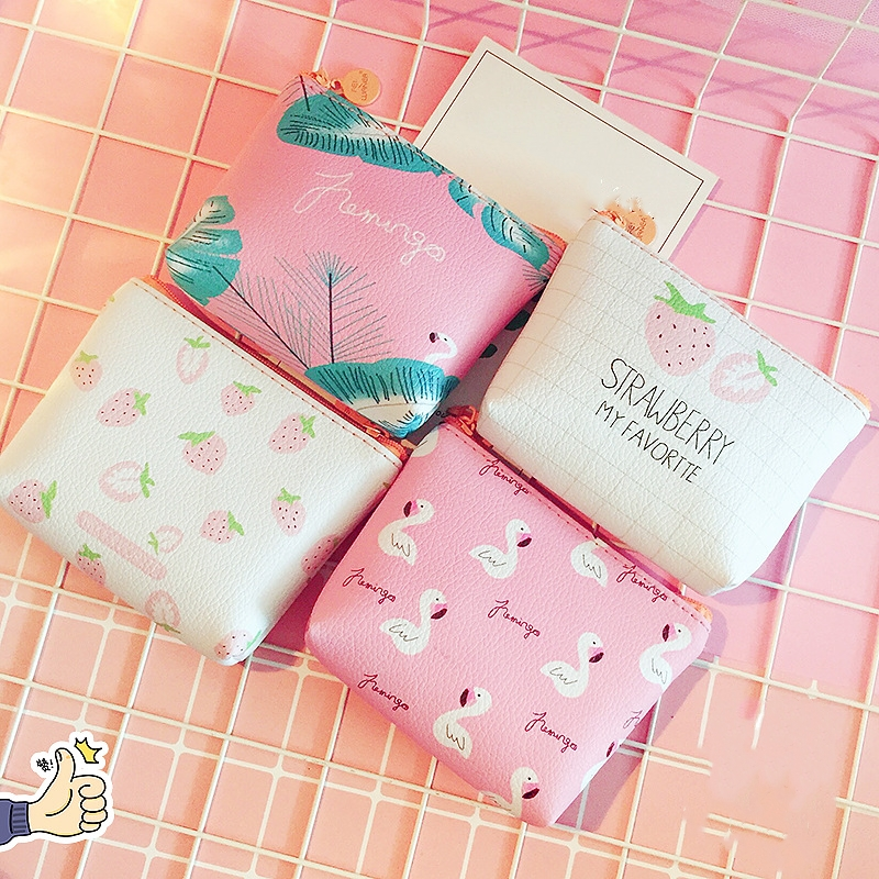 New Small Leather Coin Wallet Purse for Women Children Cute Bird Strawberry Mini Zipper Key Money Change Holder Bags Kids Gift