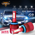 Auxbeam SMD Chips Car H8 Headlight Bulbs Cooling Fan 6500K 80W/pair H11 Led Fog Lamps For Toyota/Honda Single Beam Car Bulb Kits