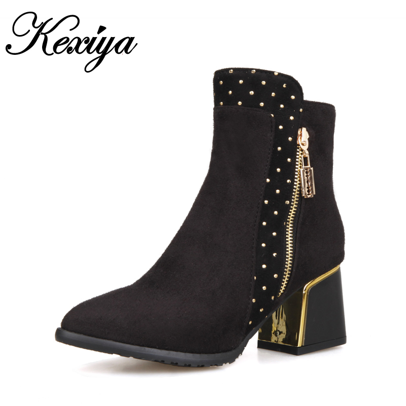 New fashion winter women shoes big size 30-52 solid flock Charm decoration Pointed Toe high heel Ankle boots HQW-108 new 2017 spring summer women shoes pointed toe high quality brand fashion womens flats ladies plus size 41 sweet flock t179
