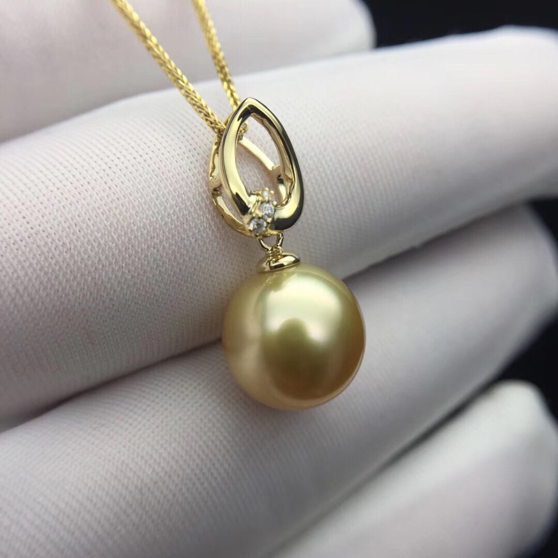 Sinya 18k gold necklace with 12mm big southsea golden pearl pendants high luster fashion design jewelry for women ladies GIFT sinya real diamond southsea golden pearl pendant 18k gold necklace choker include au750 gold chains for women mum girls gift