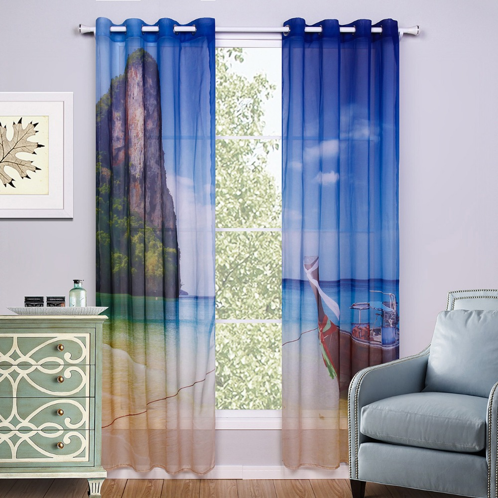 Printed Scenic Window Curtain Living Room Blue Kids