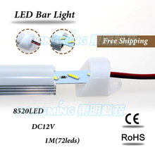 5*1m led bar light aluminum profile SMD 8520 led under cabinet light p + U aluminum shell + PC clear/milky cover with best price