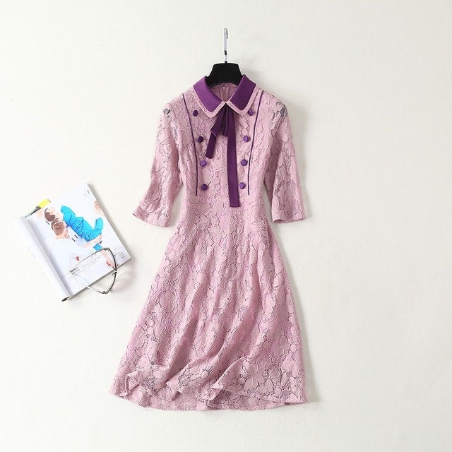 High Quality Pink Lace Dress New Korean Style Ladies Turn-down Collar Purple Button Patchwork 3/4 Sleeve Slim Party Sweet Dress